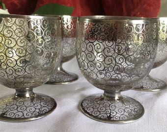 Set of 4 Silver and crystal Bohemian wine glasses.