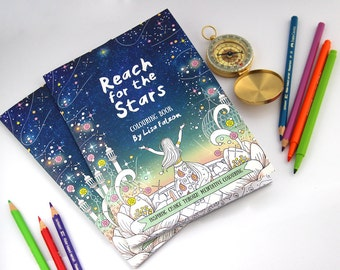 Coloring Book for Grown-Ups Reach for the Stars     adult coloring book for adults, 16 pages, mindfulness, inner stength   by Meluseena