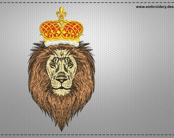 King of beasts embroidery design – 3 sizes - downloadable