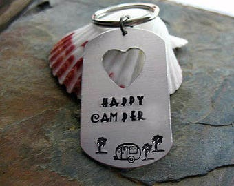 Happy Camper Keychain - Hand Stamped, Dog Tag Aluminum, Heart Shaped Key Ring,