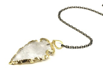 Clear Quartz Necklace, Quartz Arrow, Natural Gemstone Arrow-head Pendant, Arrow Necklace, Crystal Necklace, Quartz Pendant, Natural Quartz