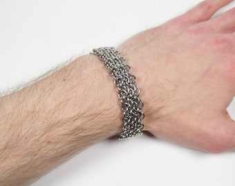 Oops Bracelet, Chainmaille Bracelet, Stainless Steel, Chainmail Bracelet, Chain Maille Bracelet, Mens Bracelet, Mens Jewelry