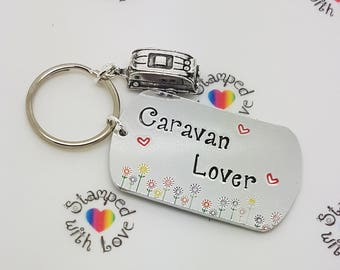 Caravan Keyring, Caravan Lover, Christmas gift, birthday, Mobile Home, Gift for Travellers, motorhome, holiday in UK, getaway, personalised