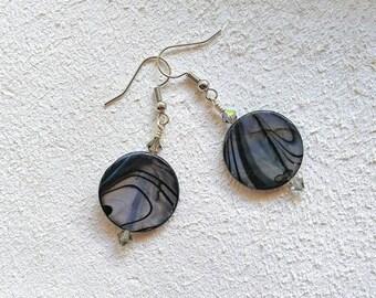 "Black Swirled Abalone Shell on Surgical Steel Earrings, Swarvoski Crystal, 1-7/8"" long, Nickle-Free, Fun Fashion Boho style, #F315"