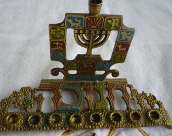 Vintage Judaica brass and enameled Chanukah Menorah, 12 Tribes Symbols, Made in Israel