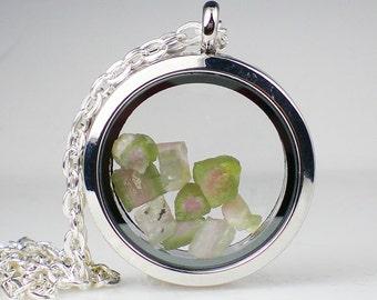 Watermelon Tourmaline Floating Glass Locket Necklace Pink Green Gemstone Jewelry