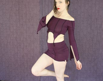 Off the Shoulder Belly top with Open Sleeves in Organic Amethyst Purple Fabric with Vertical Circus Stripes