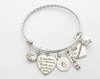 Personalized GODMOTHER GIFT-Godmother Jewelry-Godmother Bracelet--New Godmother Gift- Godmother Quote Jewelry-AUNT Jewelry-Aunt Charm-Unique