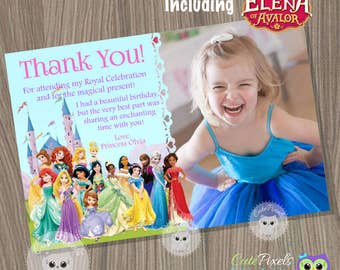 Disney Princess Thank You Card, disney princess, Princess Thank You Card, Disney Princess Birthday, Disney Princess Party, Princess Birthday