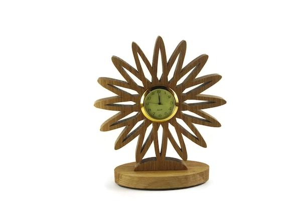 Flower Desk Or Shelf Clock Handmade From Oak Wood By KevsKrafts Woodworking, Office Decor, Desk Accessories