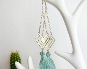 Geometric earrings silver and blue tassel, geometric jewelry, tassel jewelry, earring tassel, gift for her