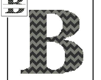 Chevron Monogram B Cross Stitch Pattern B Initial B Letter cross stitch Wedding Gift split letter cross Wedding Record Anniversary