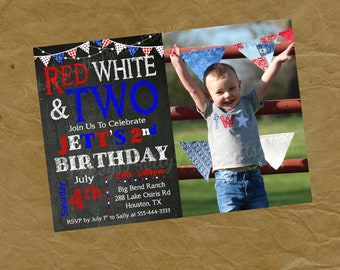 Photo RED WHITE and TWO Birthday Party Invitation Invite -Digital Personalized File to Print- Picture