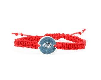 Lotus Bracelet, Yoga Bracelet, Namaste Bracelet, Lotus Flower Bracelet, Hemp Bracelet, Hippie jewelry, Healing Bracelet