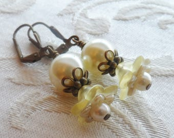 75% Off Clearance Sale, Double Blossom Flower Earrings made with Vintage Bead , Yellow, Cream, Pearl, Antique Brass
