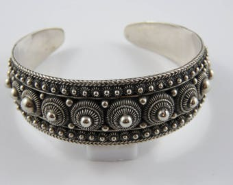 Sterling Silver Cuff Style Bracelet With An Etruscan Design