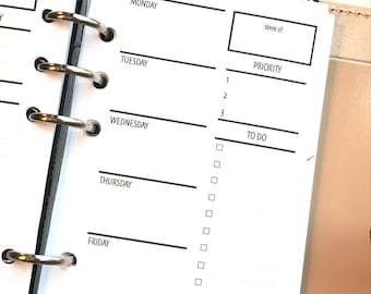 2WO2P - Two Weeks On Two Pages With/Lists Printed Planner Inserts | Personal Size | Undated