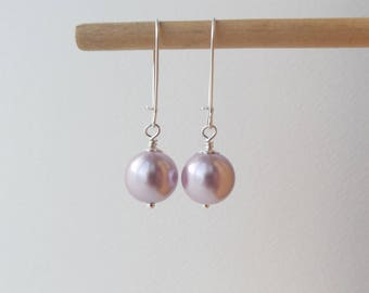 Large Pink Pearl Earrings, Statement Pearls, Big Glass Pearl Earrings, Silver Kidney Wire, dangle drop earrings - 12mm Pearls