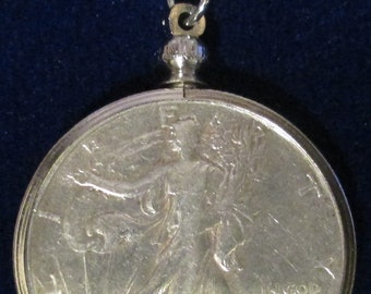 "24""sterling silver necklace with coin bezel, Real Walking Liberty 1945 Half Dollar (90% Silver)"
