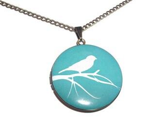 Green Bird Locket, Modern Altered Art Sophisticated Locket, Bird Jewelry