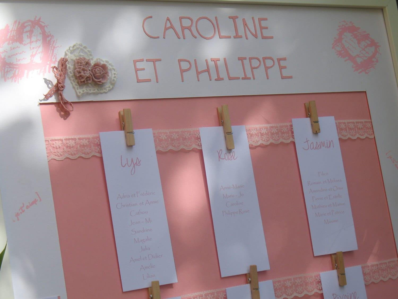 Plan de table mariage gamme mariage rose poudr - Presentation plan de table mariage ...