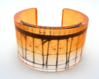 Saltburn Pier Perspex Bangle - Pier Bangle - Orange Cuff- Acrylic Cuff - Coastal Bangle -  Contemporary Perspex Jewellery