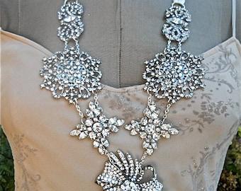 Vintage Rhinestone Brooch Statement Necklace Vintage Wedding Necklace Adjustable
