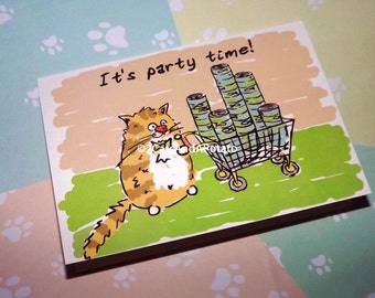 Funny party invitation card - Cat party invitation - Hand drawn party invitation cards - Happy birthday greeting card - Cat lover cards