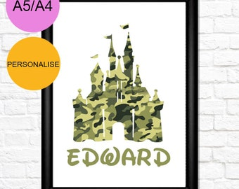 9 | Personalised Disney Castle Print | Girl, Boy, Nursery, Baby, Daughter, Son