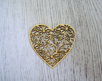 Floral heart 1327 embellishment wooden creations