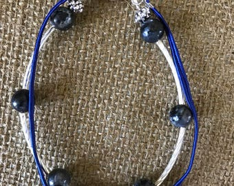 Blue lapis and silver double strand.  8 1/4""