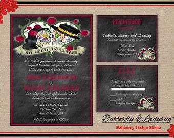 Chalkboard Sugar Skull Day of the Dead Rockabilly Wedding Invitation Suite (DIGITAL File)- Invitation w/ 2 Enclosure Cards