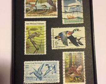 "Birds - Recycled Postage Stamp Framed Art 3.5""x5"""