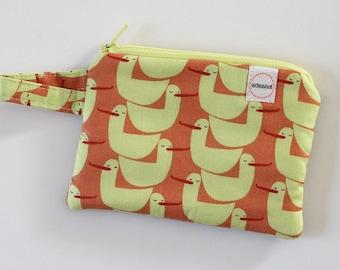 duck small zipper pouch, Minimalist pocket wallet, Change purse, cash, earbud case, fabric bag, mom purse, chapstick holder, keychain