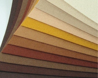 Felt Fabric - 11 Browns - 20cm x 20cm per sheet
