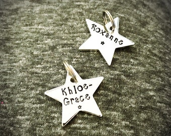 Hand stamped Star tags ONLY to add onto an existing keyring ordered from the Isle of Sparkle shop