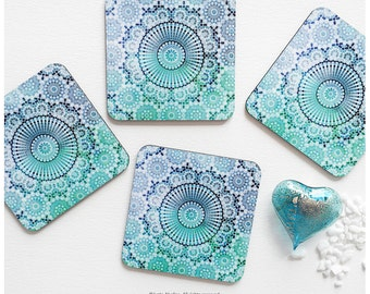 Coaster Set of 4 Moroccan Tile Print, Geometric Teal Cork Coasters, Illustration Coaster Set, Teal Moroccan Tile Coasters T182