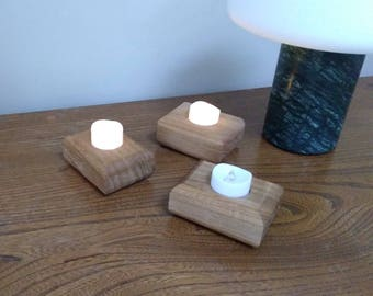 Oak warm white LED tealight holder