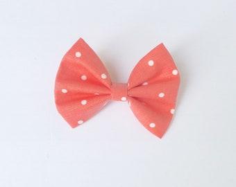 Peach polka dot hair bow, peach polka dot bow, hair accessory, mybowcloset, girls hair bows, hair bows