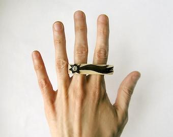 Gemstone wooden Ring Zircon Comet, coctail statement ring, gemstone black ang beige minimalist fashion jewelry, celestial body jewelry