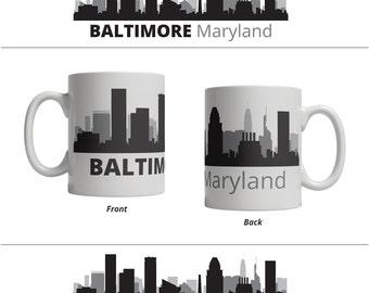 Baltimore MD Skyline Mug - Personalized Custom Text Ceramic Coffee Cup Tea, 11 oz - Maryland