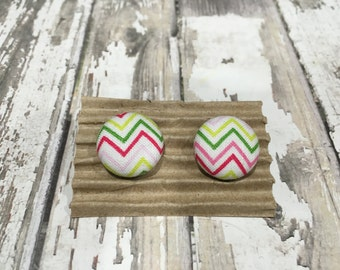 Fabric Covered Button Earrings, Pink and Green Chevron Pattern, Post or Clip-on