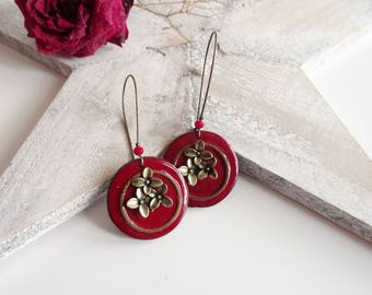 Long Burgundy earrings enameled effect