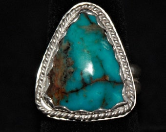 Kingman Turquoise Sterling Silver Handmade Ring by Gordon