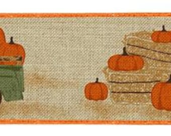 2.5 beige truck w/pumpkin on royal ribbon, ribbon by the roll, wired edge ribbon, wired ribbon by the roll, vintage truck ribbon
