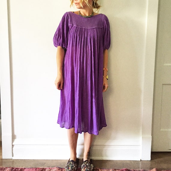 Vintage Mexican Gauze Dress, Ethnic Lace Dress , Balloon Sleeve Dress , Crochet Cotton Dress