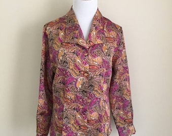 Vintage Notations paisley shimmer blouse 8P