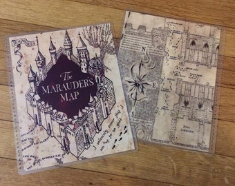 Front and Back Cover Set Harry Potter Marauder's Map for use with Erin Condren, Happy Planner or A5 Filofax