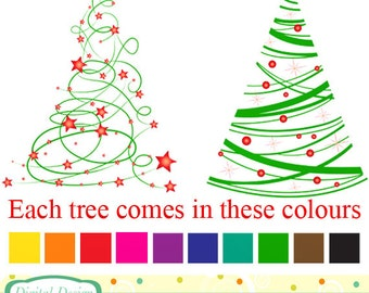 Modern Christmas tree clip art, 20 designs. INSTANT DOWNLOAD for Personal and commercial use.
