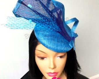 "Blue ""Soraya"" Kentucky Derby Beret Fascinator, Tea Party Fascinator, Wedding Fascinator, Blue Fascinator"